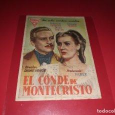 Cine: EL CONDE DE MONTECRISTO. PUBLICIDAD DEL CINE AL DORSO. AÑO 1942. Lote 182997208