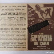 Flyers Publicitaires de films Anciens: LOS CRIMENES DEL MUSEO DE CERA - PROGRAMA MANO DOBLE - TACHADO 3 DIMENSIONES - VER FOTOS. Lote 183168082