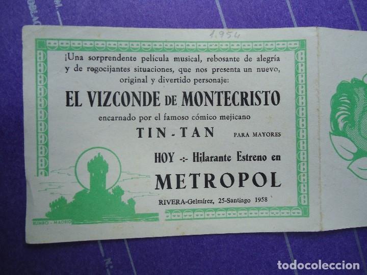 Cine: EL VIZCONDE DE MONTECRISTO 1958 CON PUBLICIDAD CINE METROPOL DE SANTIAGO DE COMPOSTELA +conservado - Foto 3 - 183174745