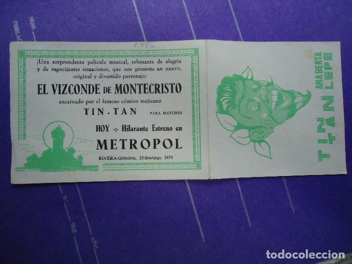 Cine: EL VIZCONDE DE MONTECRISTO 1958 CON PUBLICIDAD CINE METROPOL DE SANTIAGO DE COMPOSTELA +conservado - Foto 4 - 183174745