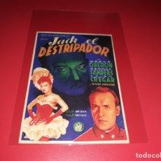 Cine: JACK EL DESTRIPADOR. PUBLICIDAD DEL CINE AL DORSO. AÑO 1944. Lote 183175505