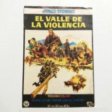 Cine: PROGRAMA DE MANO AÑOS 60, EL VALLE DE LA VIOLENCIA, JAMES STEWART, DOUG MC CLURE, GLENN CORBETT. Lote 183193265