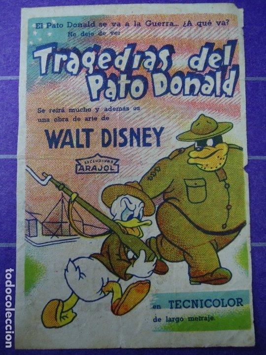TRAGEDIAS DEL PATO DONALD 1946 CON PUBLICIDAD CINE CALATRAVAS PROGRAMA SENCILLO ARAJOL WALT DISNEY P (Cine - Folletos de Mano - Infantil)