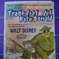 Cine: TRAGEDIAS DEL PATO DONALD 1946 CON PUBLICIDAD CINE CALATRAVAS PROGRAMA SENCILLO ARAJOL WALT DISNEY P. Lote 183197717