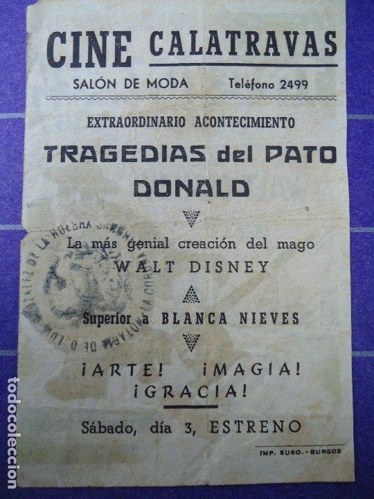 Cine: TRAGEDIAS DEL PATO DONALD 1946 CON PUBLICIDAD CINE CALATRAVAS PROGRAMA SENCILLO ARAJOL WALT DISNEY P - Foto 2 - 183197717