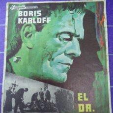 Cine: EL DR. FRANKENSTEIN 1965 BORIS KARLOFF, COLIN CLIVE, MAE CLARKE, JOHN BOLES SENCILLO PIE: J. G. MARÍ. Lote 183273202
