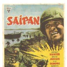 Cine: SAIPAN PROGRAMA SENCILLO RADIO FILMS JEFFREY HUNTER DAVID JANSEN NO ESTRENADA. Lote 183273227