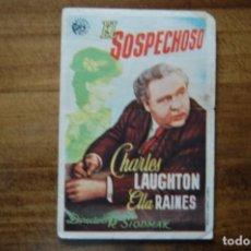 Flyers Publicitaires de films Anciens: EL SOSPECHOSO, -IDEAL CINEMA- (ELDA) MARZO 1946. Lote 183415913