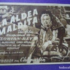 Cine: LA ALDEA MALDITA DOMINGO 7 DE NOVIEMBRE DE 1943 CON PUBLICIDAD DEL TEATRO CERVANTES PIE OSUNA TOLEDO. Lote 183417977