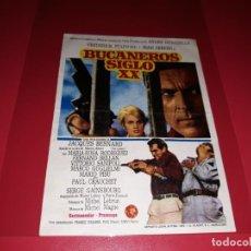 Folhetos de mão de filmes antigos de cinema: BUCANEROS SIGLO XX. PUBLICIDAD DEL CINE AL DORSO. AÑO 1967. Lote 183492368