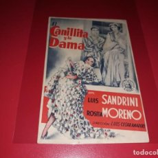 Cine: EL CANILLITA Y LA DAMA. PUBLICIDAD DEL CINE AL DORSO. AÑO 1938. Lote 183502530