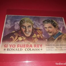 Cine: SI YO FUERA REY. PUBLICIDAD DEL CINE AL DORSO. AÑO 1938. Lote 183505642