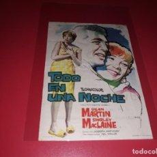 Cine: TODO EN UNA NOCHE CON DEAN MARTIN Y SHIRLEY MACLAINE. PUBLICIDAD DEL CINE AL DORSO. AÑO 1961. Lote 183506227