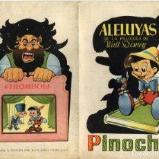 Cine: PINOCHO, PROD. WALT DISNEY. ALELUYAS. TAMAÑO PLEGADO 13,5 X 21,5 CMS... Lote 183577155