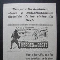 Cine: HEROES DEL OESTE, WALTER CHIARI, CINE MODERNO DE ORTUELLA. Lote 183582620