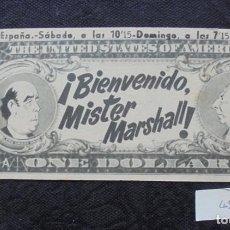 Foglietti di film di film antichi di cinema: FOLLETO DE MANO CINE ¡BIENVENIDO, MISTER MARSHALL!. Lote 230342980