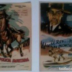 Cine: 2 PROGRAMAS REY POLICÍA MONTADA EN JORNADAS - ORIGINALES. Lote 183739476