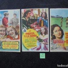 Cine: LOTE 3 FOLLETOS DE MANO CINE ESPAÑA , MAHÓN. Lote 183783122