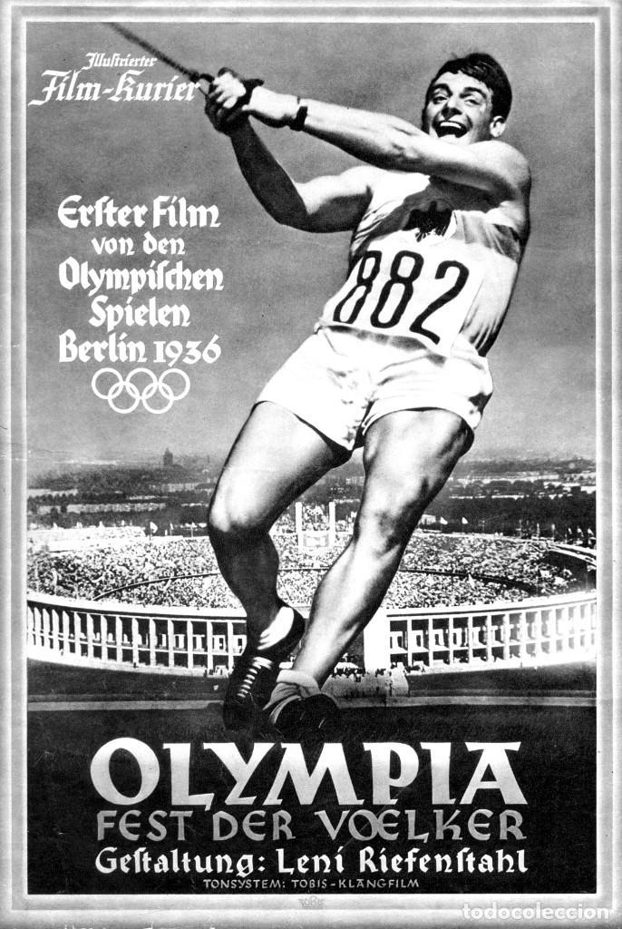 OLIMPIADA I LA FIESTA DE LOS PUEBLOS FOLLETO GUÍA ORIGINAL ÉPOCA 1936 LENI RIEFENSTAHL ADOLF HITLER (Cine - Folletos de Mano - Documentales)