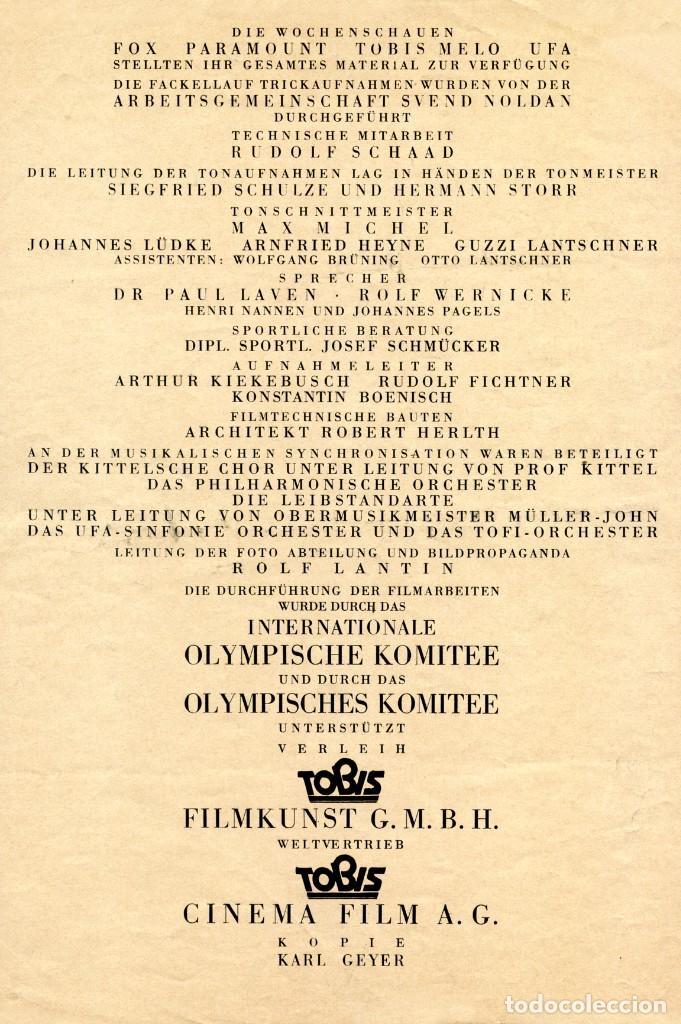Cine: OLIMPIADA I LA FIESTA DE LOS PUEBLOS FOLLETO GUÍA ORIGINAL ÉPOCA 1936 LENI RIEFENSTAHL ADOLF HITLER - Foto 4 - 253451195