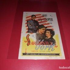 Cine: SARGENTO YORK CON GARY COOPER. SIN PUBLICIDAD. AÑO 1941.. Lote 183940581