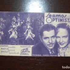 Cine: SEAMOS OPTIMISTAS -TEATRO GINER- SEPTIEMBRE 1934 . Lote 183954642