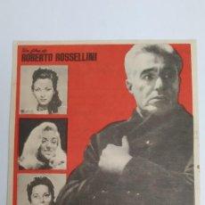 Cine: PROGRAMA DE MANO AÑO 1960 EL GENERAL DE LA ROVERE VITORIO DA SICA HANS MESSEMER, ROBERTO ROSSELLINI. Lote 183999633