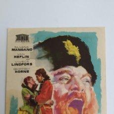 Cine: PROGRAMA DE MANO AÑO 1961 TEMPESTAD SILVANA MANGANO, VAN HEFLIN, VIVECA LINDFORS, GEOFFREY HORNE. Lote 184001362