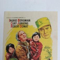 Cine: PROGRAMA DE MANO AÑO 1961 EL ALBERGUE DE LA SEXTA FELICIDAD INGRID BERGMAN, CURT JURGENS MARK ROBSON. Lote 184001582
