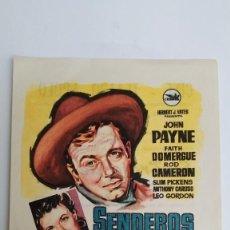 Cine: PROGRAMA DE MANO AÑO 1961 SENDEROS DE VIOLENCIA JOHN PAYNE, ROD CAMERON, FAITH DOMERGUE. Lote 184002590