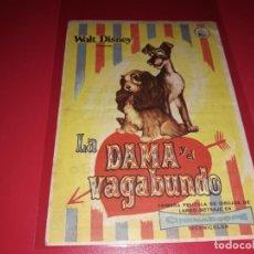 Folhetos de mão de filmes antigos de cinema: LA DAMA Y EL VAGABUNDO WALT DISNEY. PUBLICIDAD DEL CINE AL DORSO. AÑO 1955. Lote 184096896