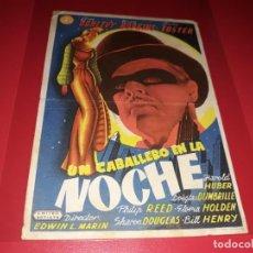 Cine: UN CABALLERO EN LA NOCHE. PUBLICIDAD AL DORSO. AÑO 1942. Lote 184196797