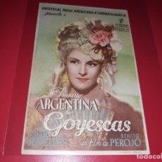 Cine: GOYESCAS CON IMPERIO ARGENTINA. PUBLICIDAD AL DORSO. AÑO 1942. Lote 184202053