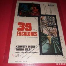 Folhetos de mão de filmes antigos de cinema: 39 ESCALONES. PUBLICIDAD AL DORSO. AÑO 1959. Lote 184272885