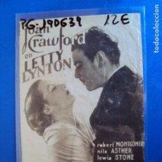 Cine: (PG-190639)PROGRAMA DE CINE - LETTY LYNTON - CINE RAMBLA. Lote 184785535