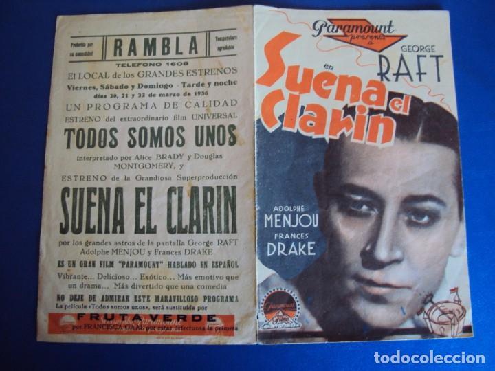 Cine: (PG-190610)PROGRAMA DE CINE - SUENA EL CLARIN - CINE RAMBLA - AÑO 1936 - Foto 2 - 184790891