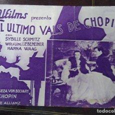 Cine: EL ULTIMO VALS DE CHOPIN 1934 CON PUBLICIDAD DEL CINEMA ZORRILLA EN CATALÁN DOBLE . Lote 184792490