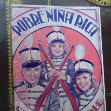 Cine: POBRE NIÑA RICA 1936 SHIRLEY TEMPLE ALICE FAYE GLORIA STUART PROGRAMA DOBLE 20TH CENTURY FOX PIE G. Lote 184798172
