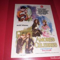 Folhetos de mão de filmes antigos de cinema: AMORES CELEBRES CON BRIGITTE BARDOT,Y . PUBLICIDAD AL DORSO. AÑO 1961. Lote 184804983