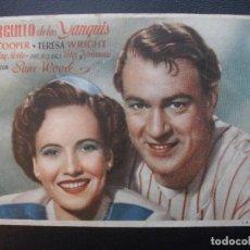Cine: EL ORGULLO DE LOS YANQUIS, GARY COOPER, CINE COLISEO, 1945. Lote 184832238