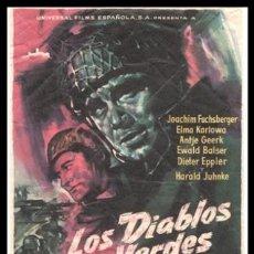 Cine: FOLLETO DE MANO, LOS DIABLOS VERDES, JOACHIM FUCHSBERGER, ELMA KARLOWA, ANTJE GEERK Y DEMAS.. Lote 184840095
