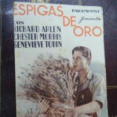 Cine: ESPIGAS DE ORO 1933 PULICIDAD CINE SAVOY RICHARD ARLEN, CHESTER MORRIS, GENEVIEVE TOBIN, ROSCOE ATE. Lote 186013505