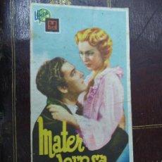 Cine: MATER DOLOROSA -1934 SENCILLO - SIN PUBLICIDAD - MARIANELLA LOTTI / CLAUDIO GORA. Lote 186014415