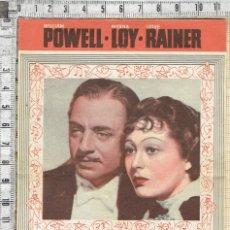 Cine: FOLLETO DE MANO METRO GOLDWYN MAYER EL GRAN ZIEGFELD - 1937.. Lote 186183520