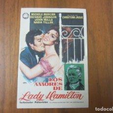 Cine: PROGRAMA DE CINE FOLLETO DE MANO-LOS AMORES DE LADY HAMILTON-AÑOS 50 SIN PUBLICIDAD. Lote 186287250