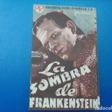 Cine: LA SOMBRA DE FRANKENSTEIN PROGRAMA DOBLE MUY BUEN ESTADO. Lote 186384673
