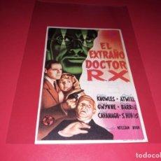 Cine: EL EXTRAÑO DOCTOR R X. PUBLICIDAD AL DORSO. AÑO 1942. Lote 186395867