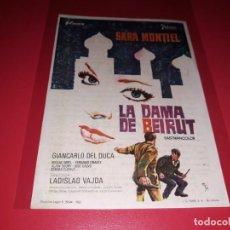 Folhetos de mão de filmes antigos de cinema: LA DAMA DE BEIRUT CON SARA MONTIEL. PUBLICIDAD AL DORSO. AÑO 1965. Lote 186396465