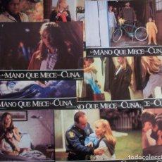 Cine: LOTE DE 11 AFICHES/FOTOCROMOS DE LA PELÍCULA LA MANO QUE MECE LA CUNA. 1992. Lote 186428942