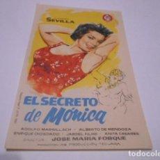 Cine: PROGRAMA O FOLLETO DE CINE SIN PUBLICIDAD - EL SECRETO DE MONICA - 8. Lote 186434508